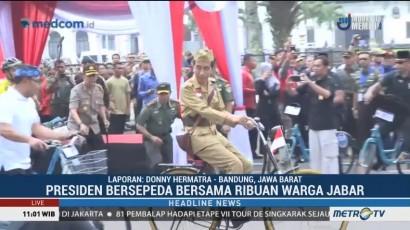 Jokowi Ikut Bersepeda Santai Bersama Ribuan Warga Jabar