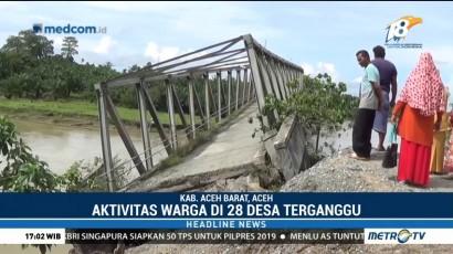 Jembatan Ambruk Karena Longsor di Aceh Barat