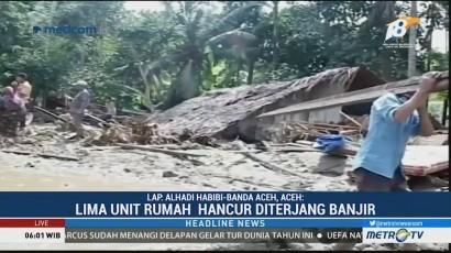 Lima Rumah Hancur Diterjang Luapan Sungai Krueng Pase Aceh