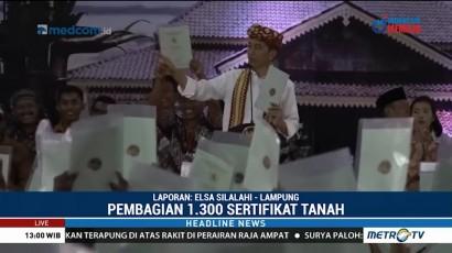 Jokowi Bagikan 1.300 Sertifikat Tanah untuk Warga Lampung