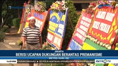Polres Jakarta Barat Dibanjiri Karangan Bunga Dukungan