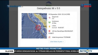 Gempa 5,9 SR Guncang Nias