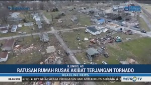 Ratusan Rumah Rusak Akibat Terjangan Tornado di Illinois