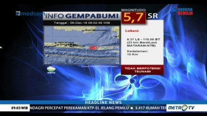 Gempa 5,7 SR Guncang Mataram