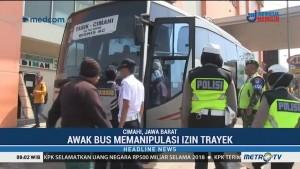 Petugas Gabungan Gelar Razia Angkutan Mudik di Cimahi