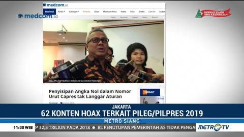 Kominfo: 62 Konten Hoaks Beredar Jelang Pileg dan Pilpres 2019