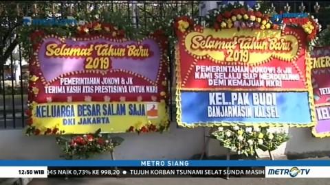 Karangan Bunga untuk Jokowi-JK Berjejer di Istana