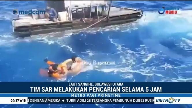Detik-detik Penyelamatan Dua Nelayan Hanyut di Sangihe