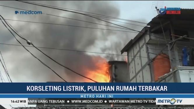 Korsleting Listrik, Puluhan Rumah di Grogol Petamburan Terbakar