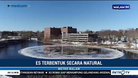 Bundaran Es Unik Terbentuk di Atas Sungai
