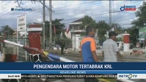 Terobos Pintu Perlintasan, Pengendara Motor di Depok Tertabrak KRL