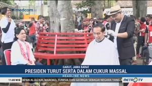 Presiden Jokowi Turut Serta Cukur Massal di Garut