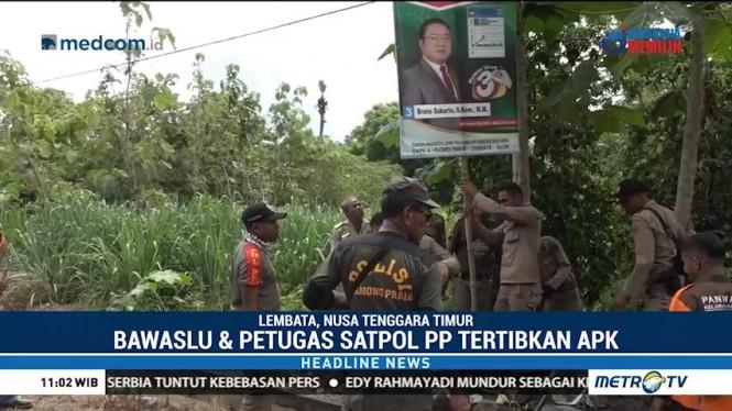Bawaslu dan Satpol PP Lembata Tertibkan APK Ilegal