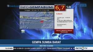 Gempa 6,7 SR Guncang Sumba Barat