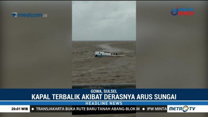 Kapal Tenggelam di Sungai Barombong, Tiga ABK Selamat