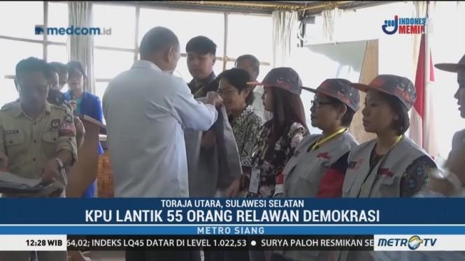 KPU Toraja Utara Lantik 55 Relawan Demokrasi