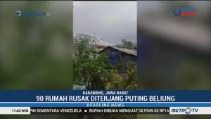 90 Rumah di Karawang Rusak Diterjang Puting Beliung
