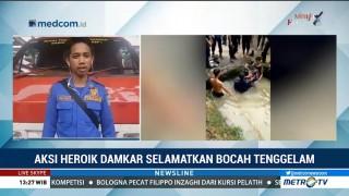Aksi Heroik Damkar Selamatkan Bocah Tenggelam