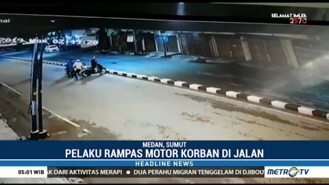 Aksi Begal di Medan Terekam CCTV