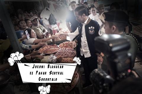 Jokowi Blusukan ke Pasar Sentral Gorontalo