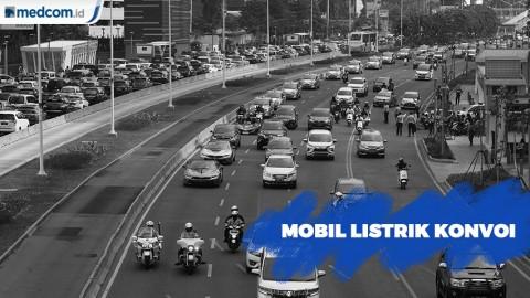 Mobil Listrik Konvoi dari GBK ke Monas