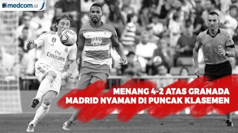 Menang 4-2 Atas Granada, Madrid Nyaman di Puncak Klasemen
