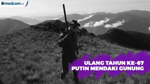Rayakan Ulang Tahun ke-67, Presiden Putin Mendaki Gunung di Siberia