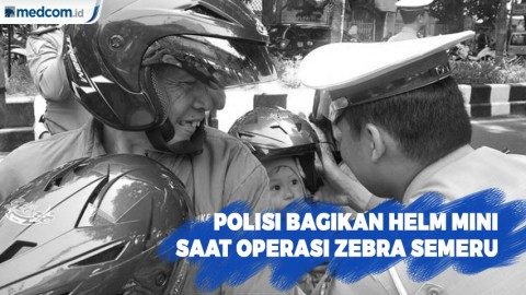Polisi bagikan Helm Mini Saat Operasi Zebra Semeru