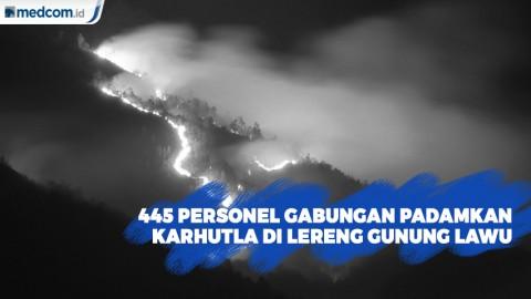 445 Personel Gabungan Padamkan Kebakaran Hutan di Lereng Gunung Lawu