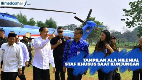 Tampilan Staf Khusus Putri Tanjung dan Andi Taufan di Kunjungan Kerja Jokowi