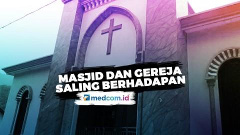 Masjid dan Gereja di Jepara Saling Berhadapan