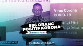Update Kasus Korona RI: 686 Positif, 30 Sembuh dan 55 Meninggal