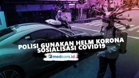 Polisi di Mojokerto Gunakan Helm Korona Sosialisasi Covid-19