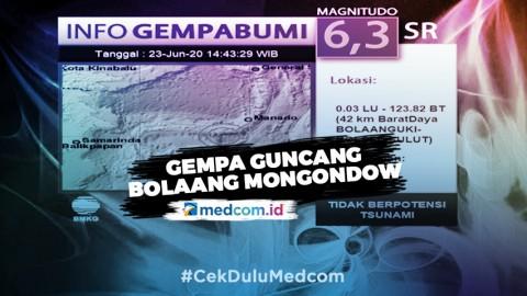 Gempa Bumi Berkekuatan 6,3 SR Guncang Bolaang Mongondow Selatan