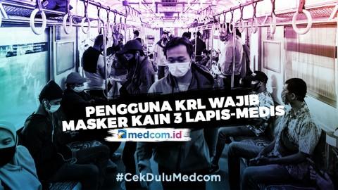 Pengguna KRL Wajib Pakai Masker Kain 3 Lapis-Medis Pada Hari Ini