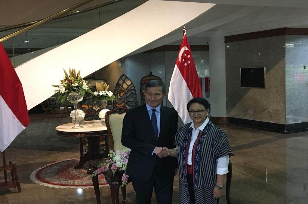 Menlu RI-Singapura Periksa Kemajuan Kerja Sama Bilateral