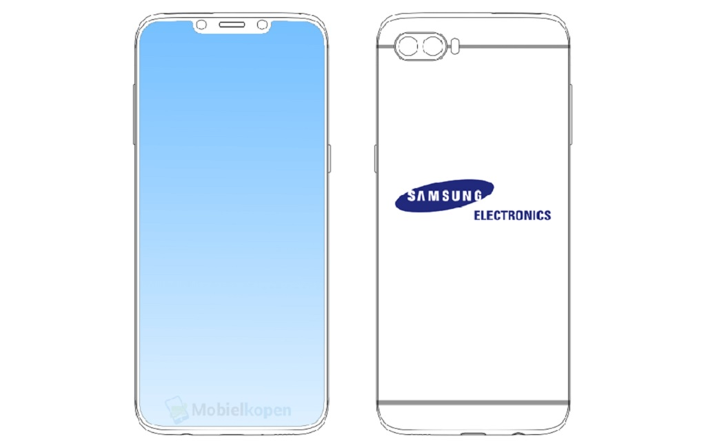 Beredar, Desain Ponsel Samsung Berponi ala iPhone X