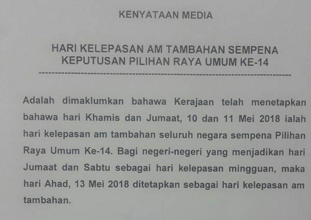 Pemerintah Kerajaan Malaysia Berikan Dua Hari Libur Nasional Usai Pemilu