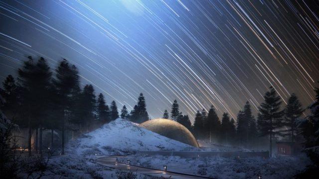 Planetarium dengan 7 planet satelit