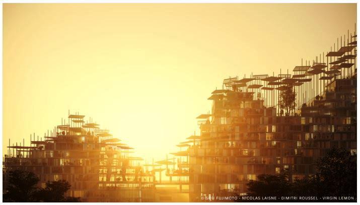 Bangunan mixused di Paris ini berbahan kayu