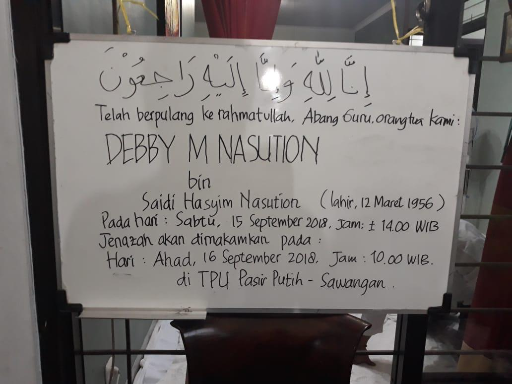 Debby Nasution akan Dimakamkan di TPU Pasir Putih