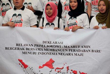 Relawan Jokowi-Ma'ruf Janjikan Kejutan saat Kampanye Damai