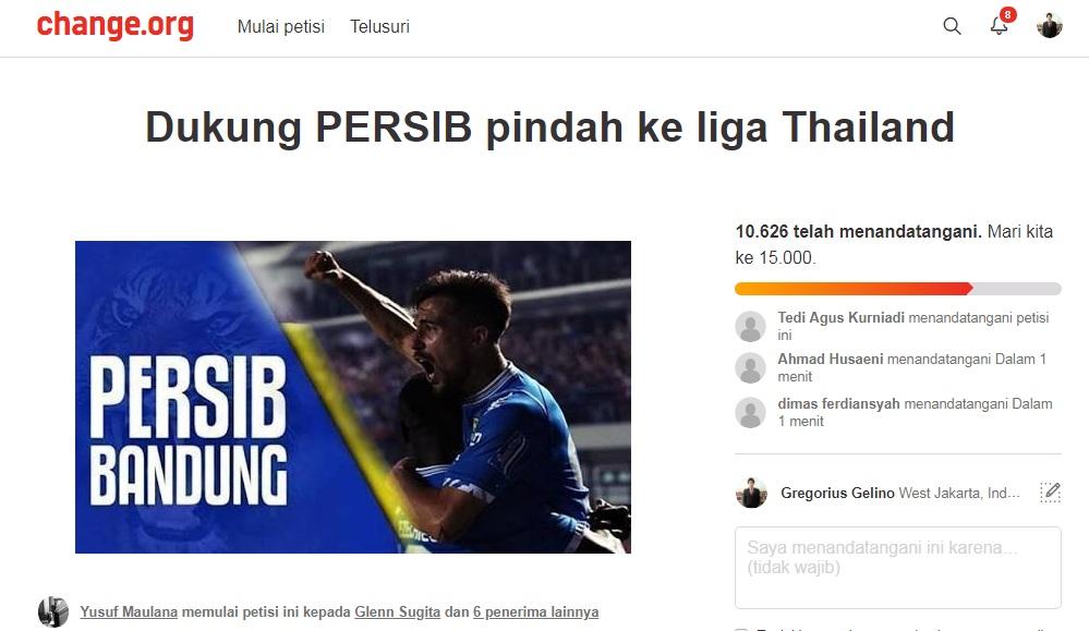 Petisi Dukung Persib Pindah Liga Thailand Tembus 10 Ribu Tanda Tangan