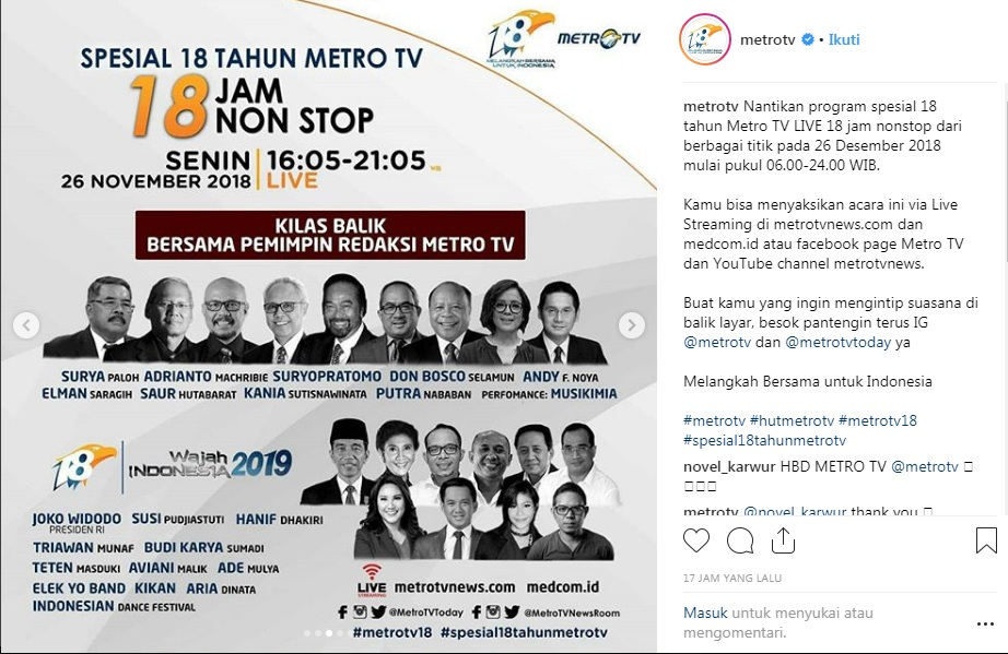 Presiden Jokowi Menghadiri Ultah <i>Metro TV</i>