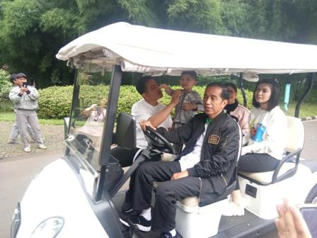 Jokowi Ajak Keluarga Keliling Kebun Raya Bogor