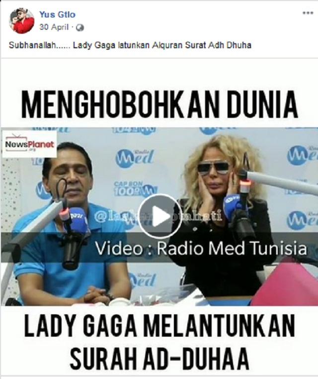 [Cek Fakta] Lady Gaga Melantunkan Ayat Alquran? Ini Faktanya