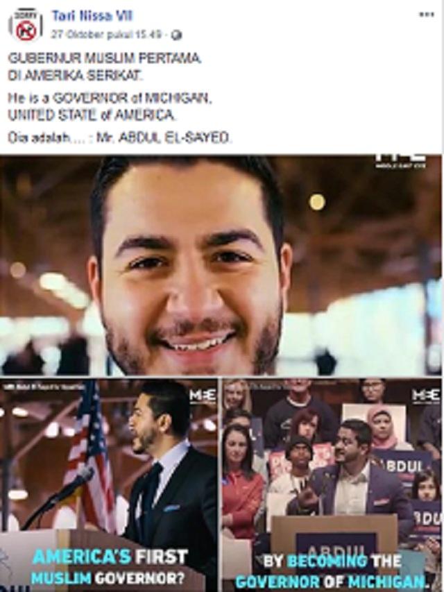 [Cek Fakta] Abdul El Sayed Terpilih Menjadi Gubernur Muslim Pertama AS?