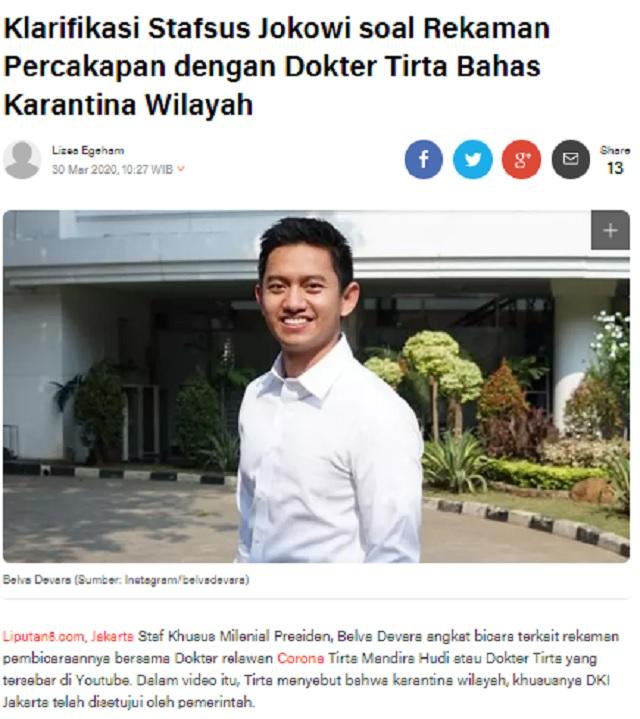 [Cek Fakta] Dokter Tirta Mengaku Rapat Terbatas dengan Stafsus Presiden dan Sepakat Jakarta <i>Lockdown</i>? Ini Faktanya