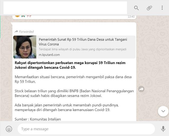 [Cek Fakta] Rezim Jokowi Pertontonkan Mega Korupsi Rp59 Triliun di Tengah Pandemi Covid-19? Ini Faktanya