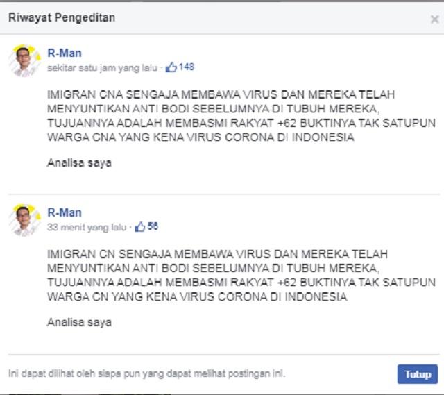 [Cek Fakta] Tak Ada Satupun Warga Tiongkok Terkena Virus Korona di Indonesia? Ini Faktanya